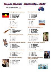 Down Under - Australia Quiz (Multiple Choice)