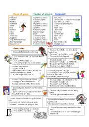 English Worksheet: equipments and rules of games and sports