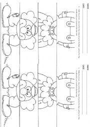 English Worksheet: CLOWN color, cut and paste