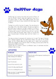 English Worksheet: Reading : Sniffer dogs