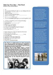 English Worksheet: Wish you were here - Pink Floyd