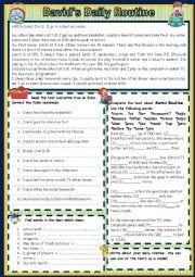 English Worksheet: David�s Daily Routine