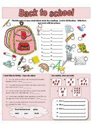 English Worksheet: Back to school