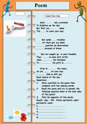 English Worksheet: poem each new day.