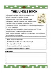 english worksheets jungle book worksheets. Black Bedroom Furniture Sets. Home Design Ideas