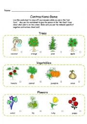 English Worksheet: Contractions Game Worksheet