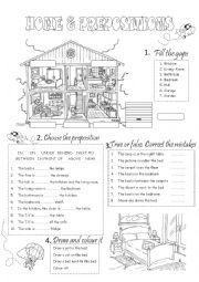 English Worksheet: HOME & PREPOSITIONS 2/3  (2 PAGES)