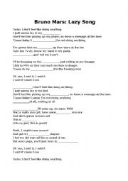 English Worksheet: Bruno Mars Lazy song