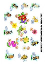 English Worksheet: Help bees to reach their flowers