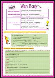 English Worksheet: wish/If only