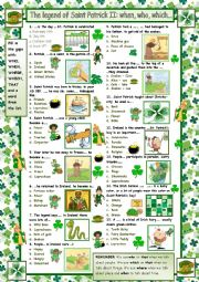 English Worksheet: The legend of Saint Patrick II Quiz: Who What Where (with answers)