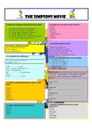 English Worksheets: THE SIMPSONS MOVIE.  Worksheet + Lesson Plan + Key