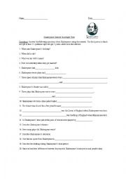 English Worksheet: Shakespere Scavenger Hunt