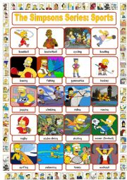 English Worksheet: The Simpsons Series: Sports Pictionary