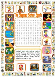 English Worksheet: The Simpsons Series: Sports Wordsearch  (WITH KEY)