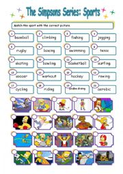 English Worksheet: The Simpsons Series: Sports Match (WITH KEY)