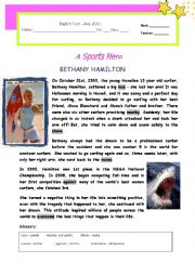Test - A Sports Hero : Bethany Hamilton