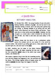 English Worksheet: Test - A Sports Hero : Bethany Hamilton