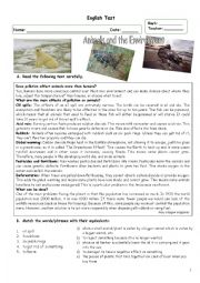 English Worksheet: English Test - Animals and the Environment + KEY