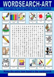 English Worksheet: Art Wordsearch