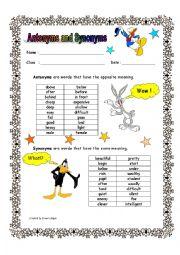 English Worksheet: Antonyms and Synonyms