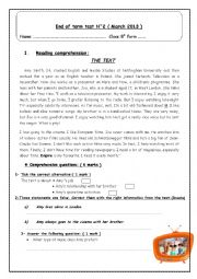 English Worksheet: End of term test N�2 ( 8th form)