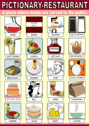 English Worksheet: Restaurant Pictionary