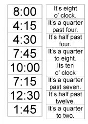 English Worksheet: Telling the time - memory game
