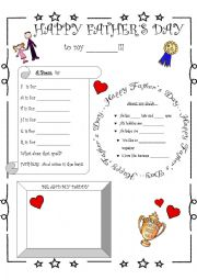 English Worksheet: Father´s Day activities