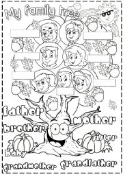 English Worksheet: my family tree