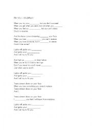 Fix you lyrics worksheet