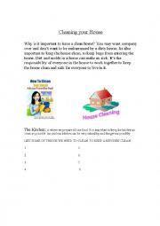 English Worksheet: Cleaning Your House