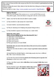 English Worksheet: Tho one direction get involved in Red Nose Day