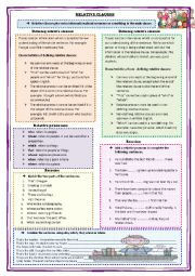English Worksheet: RELATIVE CLAUSES. GRAMMAR + EXERCISES