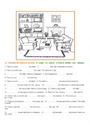 English Worksheet: Prepositions of place - Room description exercises