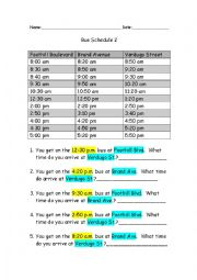 English Worksheet: Reading a Bus Schedule