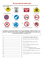 English Worksheet: we must obey the traffic rules