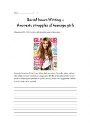 English Worksheet: Social Issue Practice - Anorexic Struggles of Teenage Girls