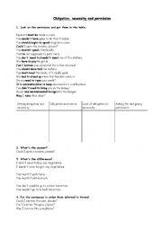 English Worksheet: Obligation and Necessity
