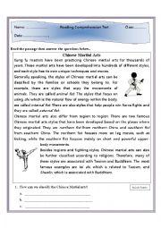 english worksheets reading comprehension chinese martial arts. Black Bedroom Furniture Sets. Home Design Ideas