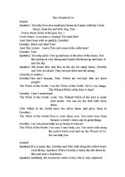 English Worksheet: The play of The Wizard of Oz