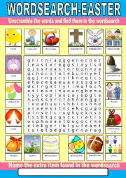 English Worksheet: Easter Wordsearch