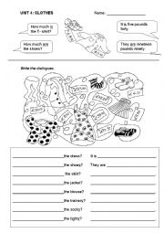 English Worksheet: Asking for the prize- clothes: How much is/are the...? The ... is/are...