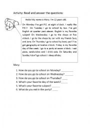 English Worksheet: reading comprehension daily routines