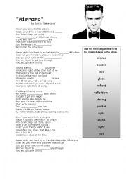 English worksheets: Mirrors by Justin Timberlake - Lyric Match