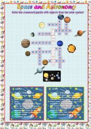 space and astronomy: crossword puzzle
