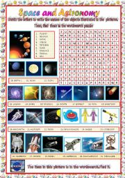 space and astronomy: wordsearch puzzle