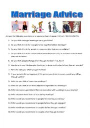 English Worksheet: Marriage Advice