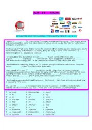 English Worksheet: Tv, Media, Newspapers  topic for exams  at B2 level - multiple choice test  with key