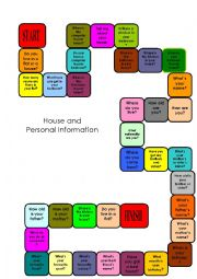 English Worksheet: Board game, Personal Information and house. Useful for Trinity exam, grades 2 and 3